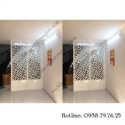 Trang trí cầu thang và phòng khách từ vách ngăn gỗ cnc