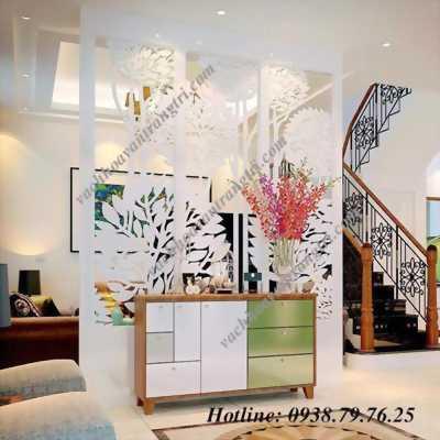 Trang trí không gian nội thất phòng khách từ vách ngăn gỗ cnc hiện đại