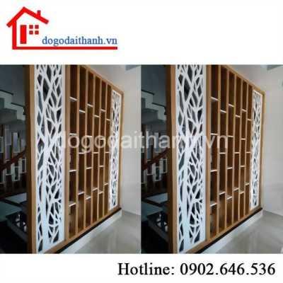 Lắp đặt tủ kệ gỗ ngăn phòng khách tại đường Hoàng Diệu, quận 4