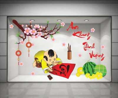 Decal dán tường trang trí Bé viết thư pháp