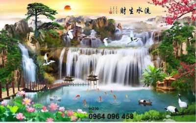 Gạch tranh 3D phong cảnh thác nước trang trí phòng khách