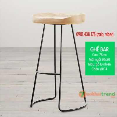 Ghế bar mặt gỗ chân sắt uốn công đẹp - rẻ- siêu bền