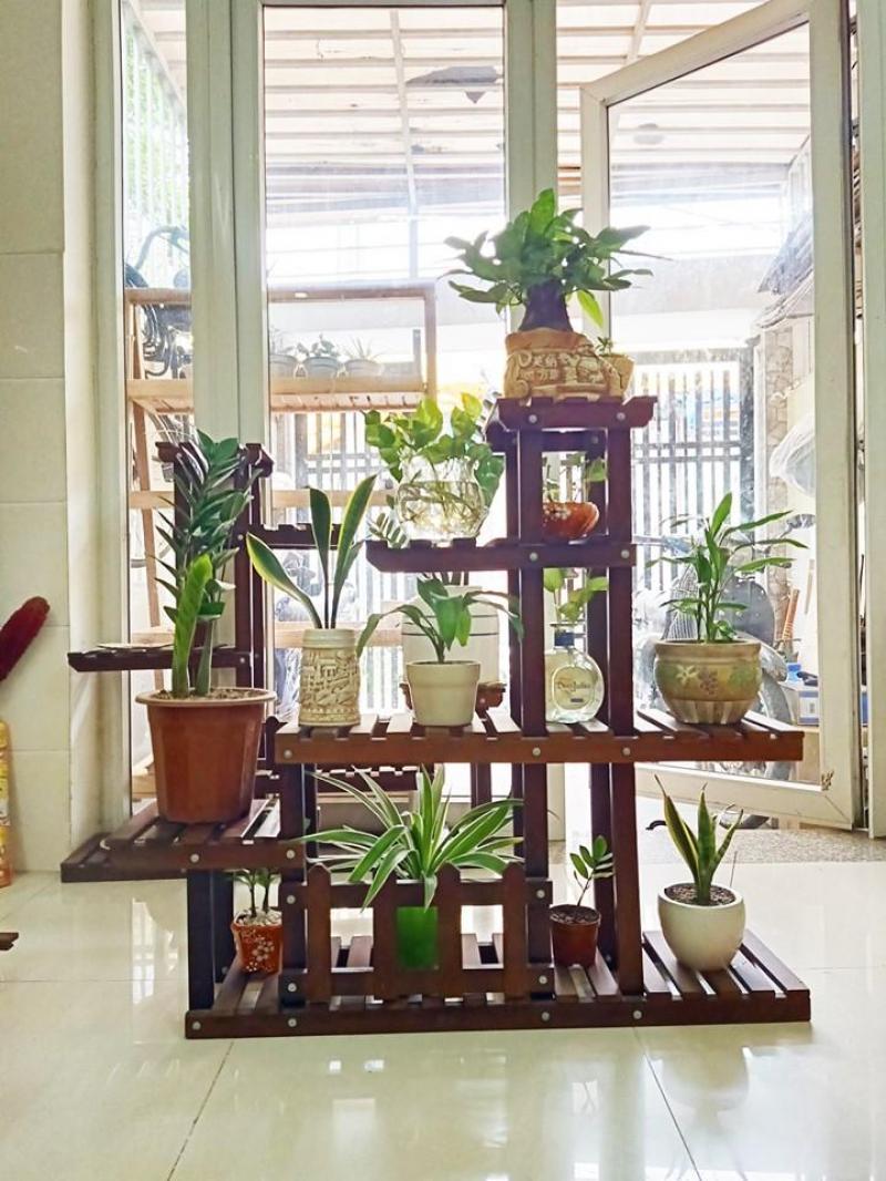Kệ trang trí để cây cảnh, Kệ gỗ trang trí hàng xuất khẩu