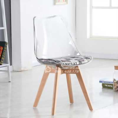 Ghế Nhựa Trong Suốt Chân Gỗ Sồi, Ghế Nhựa Trong Suốt Chân Xoay Inox