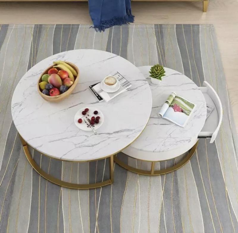 Bàn Sofa mặt đá chân mạ vàng BLM25, Bàn sofa đôi, Bàn trà, bàn sofa decor