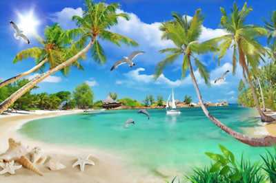 mẫu tranh 3d phong cảnh biển