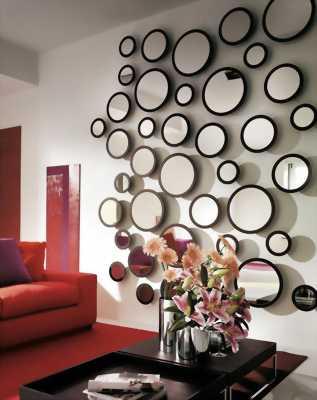 Trang trí tường 21 vòng tròn tráng gương