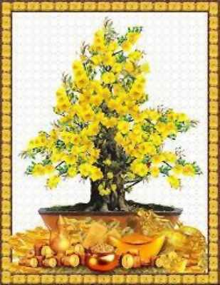 tranh gạch 3d cây mai vàng