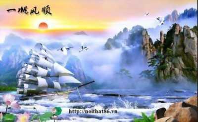 tranh 3d thuyền buồm -tranh gạch 3d