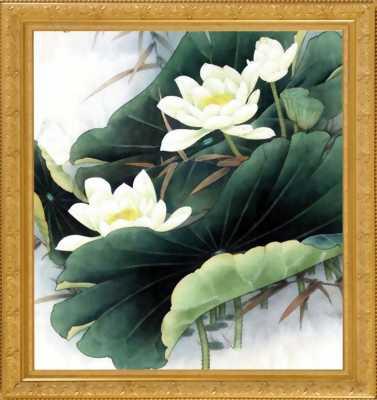 Khung tranh vẽ hai bình hoa dùng trang trí