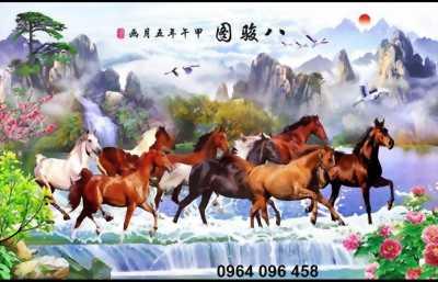 tranh ngựa phòng khách- gạch tranh 3d