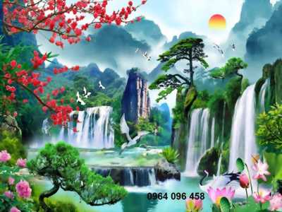 tranh gạch 3d phong thủy cây tùng hoa mẫu đơn