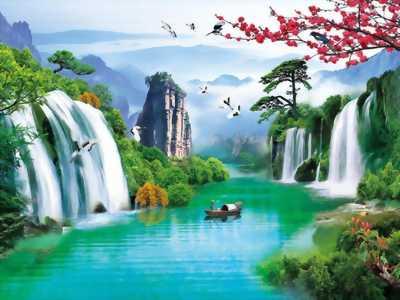 tranh 3d phong cảnh thác nước mùa hè mát mẻ