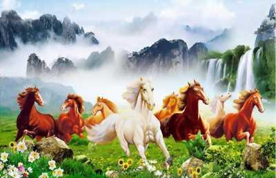 gạch tranh 3d ngựa phong thủy