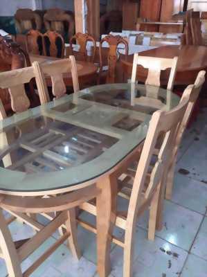 Bộ bàn ăn gỗ sồi nhập