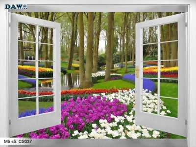 tranh gạch 3d - gạch 3d hình cửa sổ