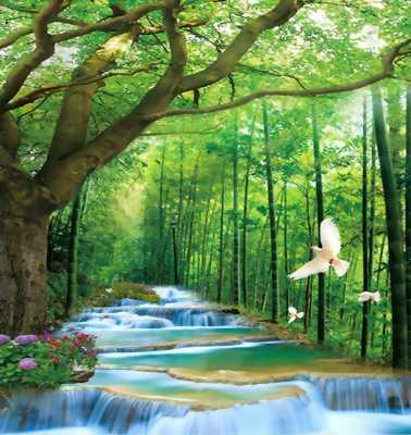 Tranh 3d suối nước rừng cây
