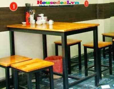Bàn ghế cafe,khung sắt mặt gỗ 02