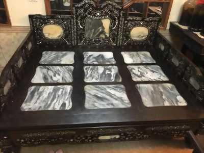 giường tam sơn gỗ gụ cẩn ốc xà cừ