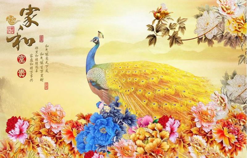 tranh gạch men 3d chim công sứ ngọc