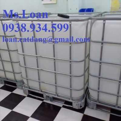 tank nhựa vuông đựng hóa chất 1000 lít,bồn nhựa 1 khối đựng hóa chất