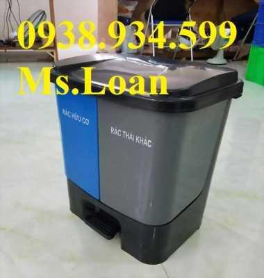 Thùng phân loại rác 2 ngăn 40 lít,thùng rác đạp chân 2 ngăn 40 lít