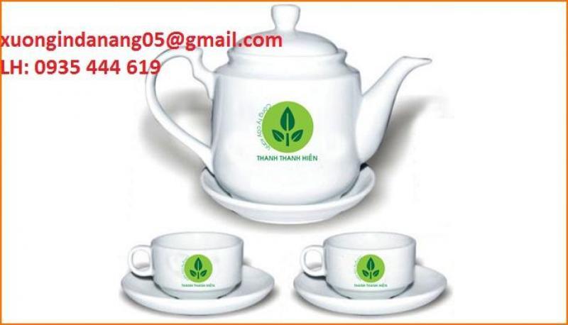 In logo ấm trà Bát Tràng quà tặng Tết tại Đà Nẵng