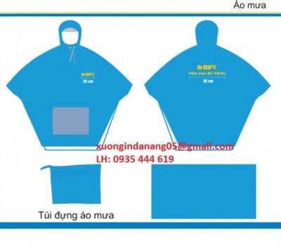 Áo mưa in logo tặng nhân viên, áo mưa tặng khách hàng tại Huế