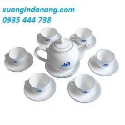 In logo lên bộ ấm trà tại Quảng Ngãi,bộ ly quà tặng in logo