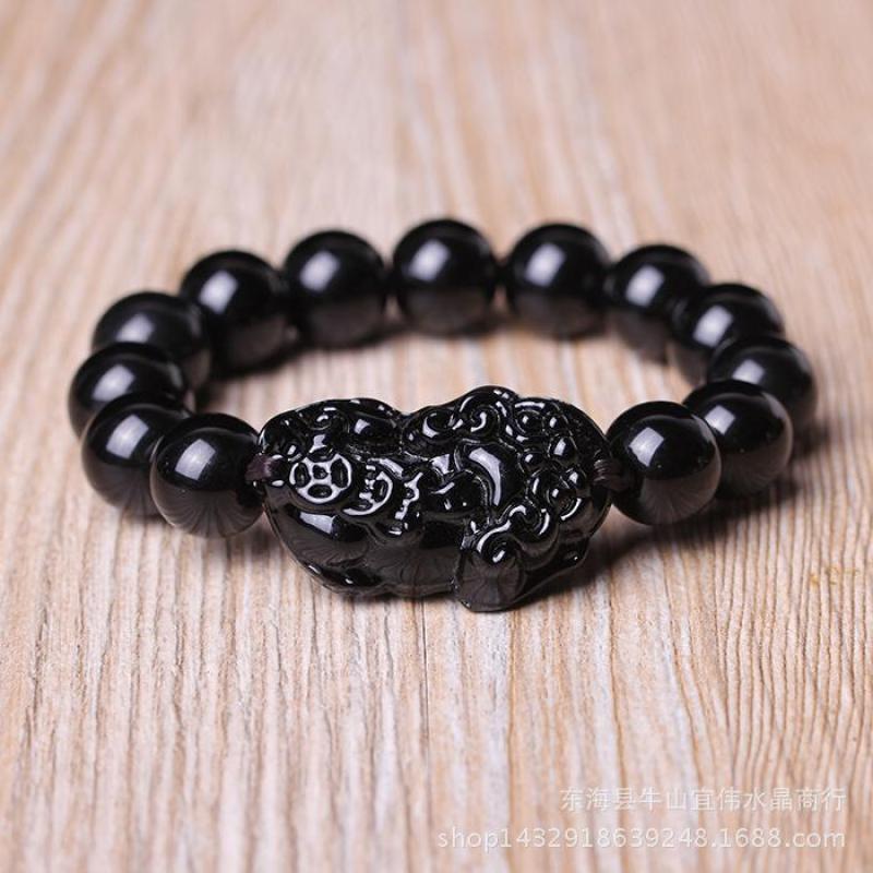 Vòng Tay Phong Thủy Tỳ Hưu đen giả đá Obsidian