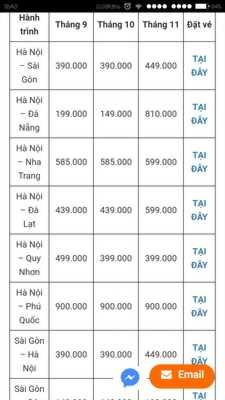 Vé máy bay giá rẻ 2017 các tháng 9, 10, 11