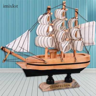 Qùa tặng trang trí, thuyền buồm bằng gỗ địa trung hải