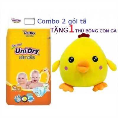 Tặng 1 thú bông con gà _ Combo 2 gói tã dán Unidry size M42 cho bé cân nặng từ 6-11 kg