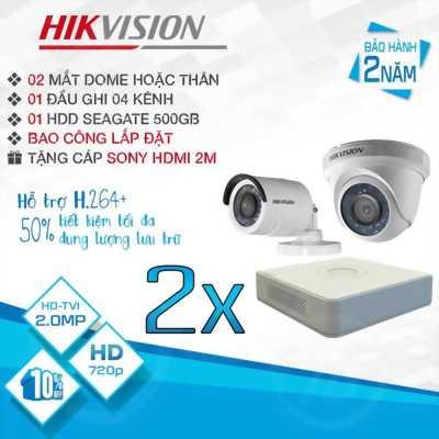 TRỌN BỘ 2 CAMERA HIKVISION HD-TVI 2.0MP