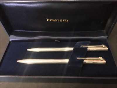 Cặp bút Tiffany & Co bạc khối