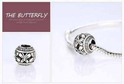 Hạt charm bạc, họa tiết bươm bướm xinh xắn