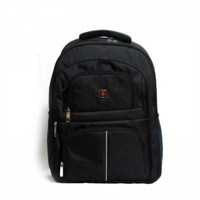 Ba lô văn phòng đựng laptop màu đen logo R đỏ dày tốt BALOSUMO0015