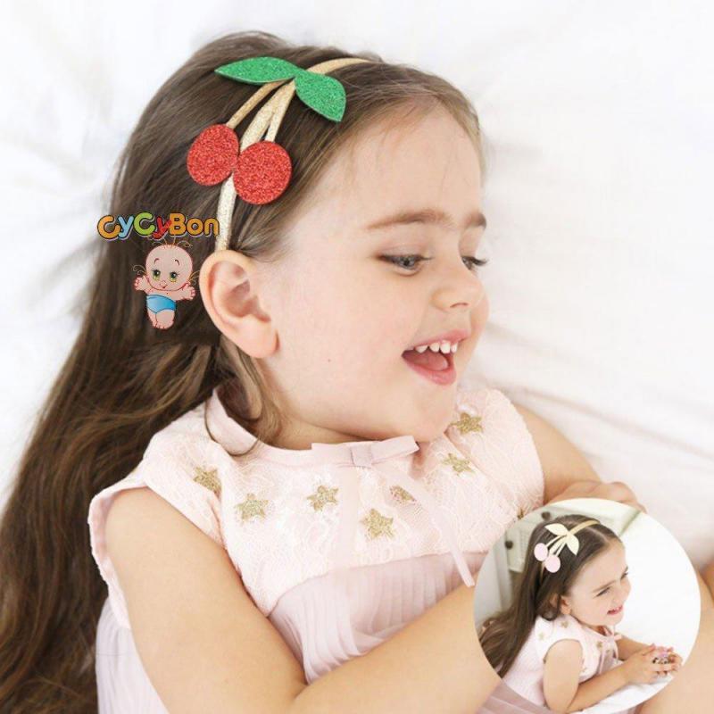Cài tóc cho bé gái họa tiết trái cherry phủ kim tuyến