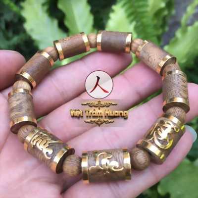 Vòng tay trầm sánh trúc bọc vàng Phúc Lộc Thọ