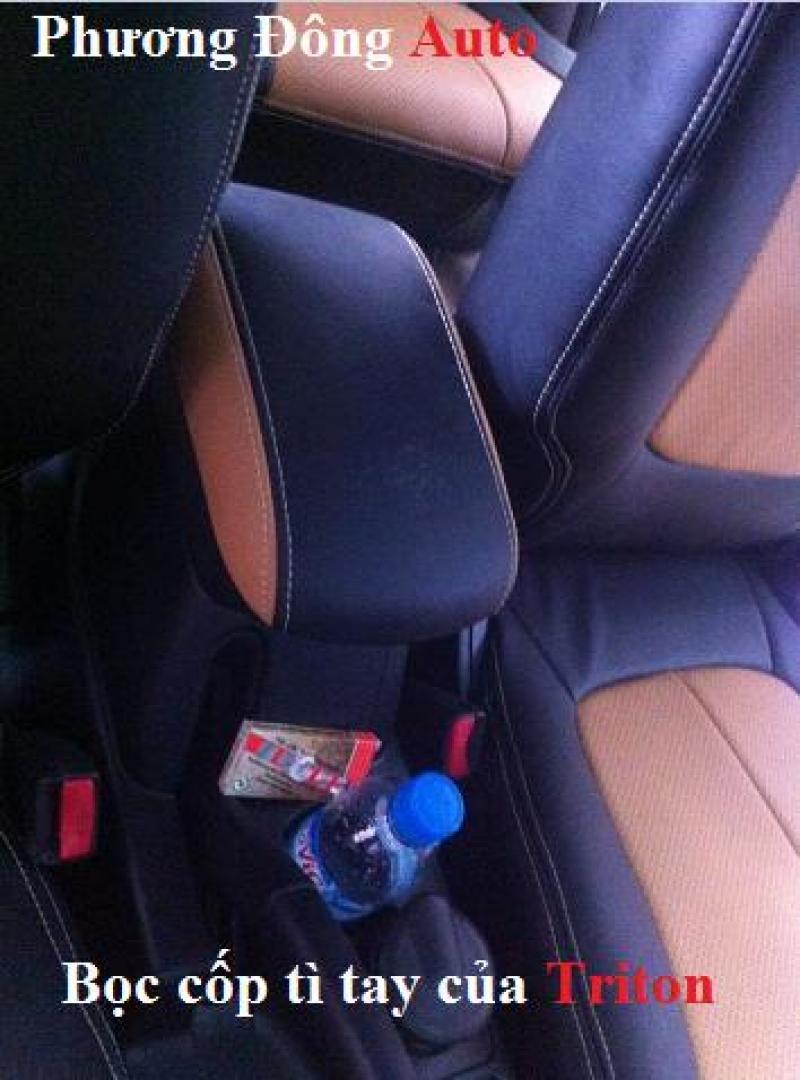 Bọc ghế da thật công nghiệp Mitsubishi Triton | Pha màu đen da bò