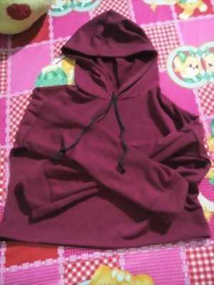 Áo hoodie crop đỏ đô