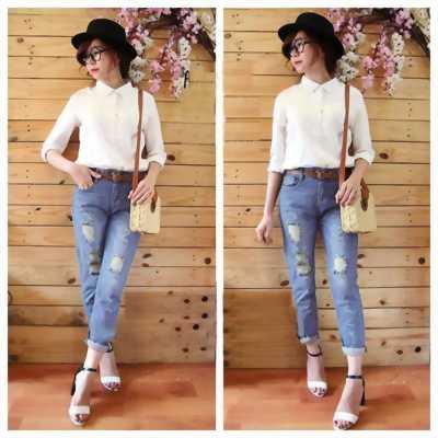 Quần jeans baggy rách cho nữ