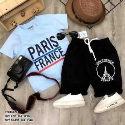 Bộ thun in tháp Paris dễ thương cho bé 2 -9 Tuổi BTB15828