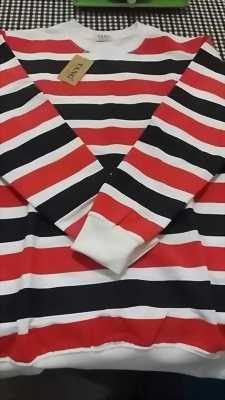 Áo tay dài sọc đỏ đen trắng nam nữ