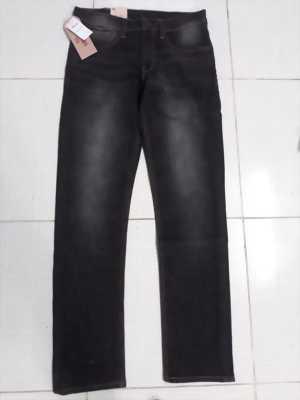 Quần jeans Lvi nam trơn màu đen wash trắng