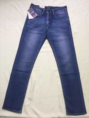 Quần jeans AJ nam xanh dương đậm trơn wax đùi nhẹ