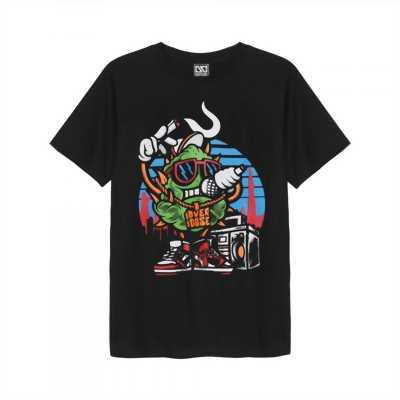 Áo thun Thái Lan màu đen in 3D cục bông xanh hiphop đeo dây chuyền Overdose hát Rap T0284