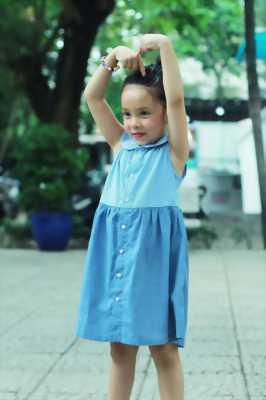 Đầm sơ mi sọc thẳng phối màu xanh jean cho bé gái HIKARI-7