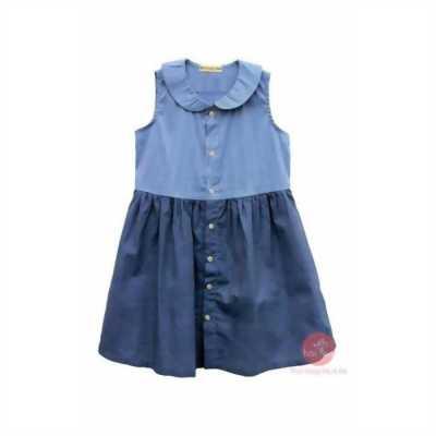 Đầm sát nách kiểu sơ mi phối màu xanh jean nhạt đậm cho bé gái HIKARI-7.1