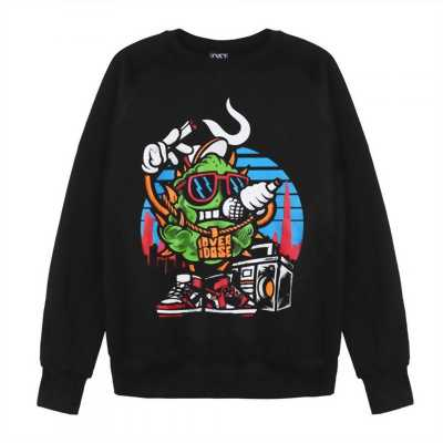 Áo sweater dài tay Thái in 3D hình cục bông xanh lá hát rap hiphop AST004